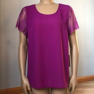 NWT Stitch Fix 41 Hawthorn Lace Fuchsia Blouse